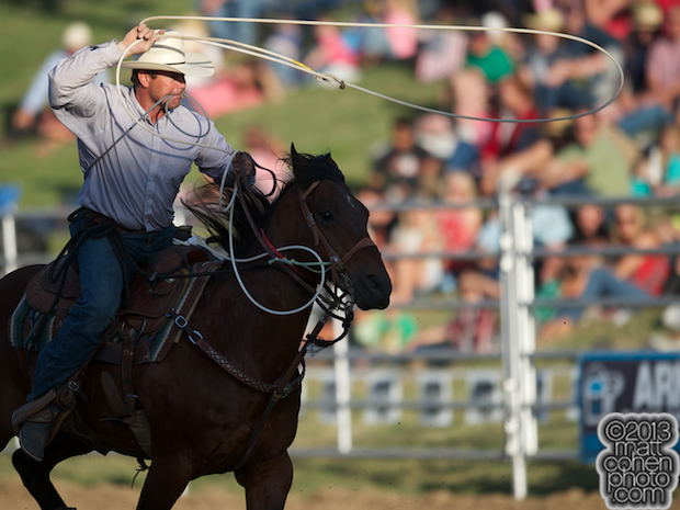 Tie-down roper Casey Darst of El Camino, CA competes at the Marysville Stampede in Marysville, CA.