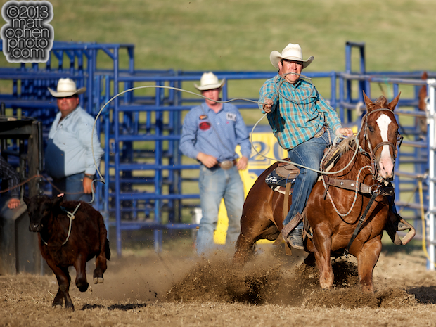 Tie-down roper C.J. DeForest Jr of Wheatland, CA competes at the Marysville Stampede in Marysville, CA.