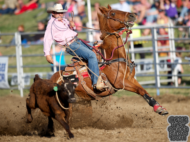 Tie-down roper John Seifert of Acampo, CA competes at the Marysville Stampede in Marysville, CA.