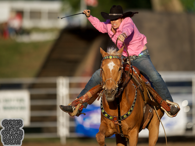 Barrel racer Trisha Wirth of Grass Valley, CA competes at the Marysville Stampede in Marysville, CA.