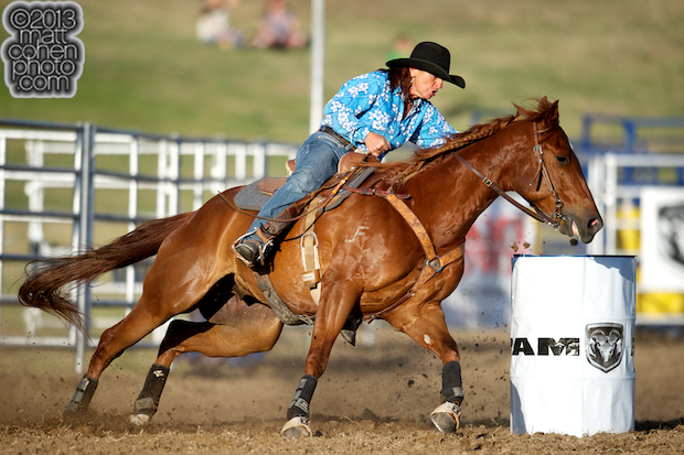 Barrel racer Mary Jo Camera of Oakdale, CA competes at the Marysville Stampede in Marysville, CA.
