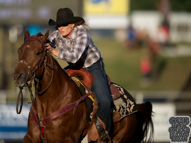 Barrel racer Trula Churchill of Valentine, NE competes at the Marysville Stampede in Marysville, CA.