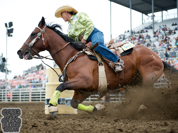 Barrel racer Linda Vick of Hesperia, CA competes at the California Rodeo in Salinas, CA.