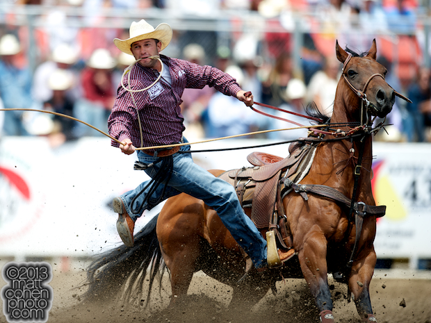 Tie-down roper Jake Hannum of Plain City, UT competes at the California Rodeo in Salinas, CA.