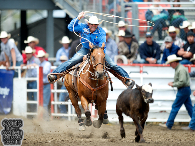 Tie-down roper Reese Riemer of Stinnet, TX competes at the California Rodeo in Salinas, CA.