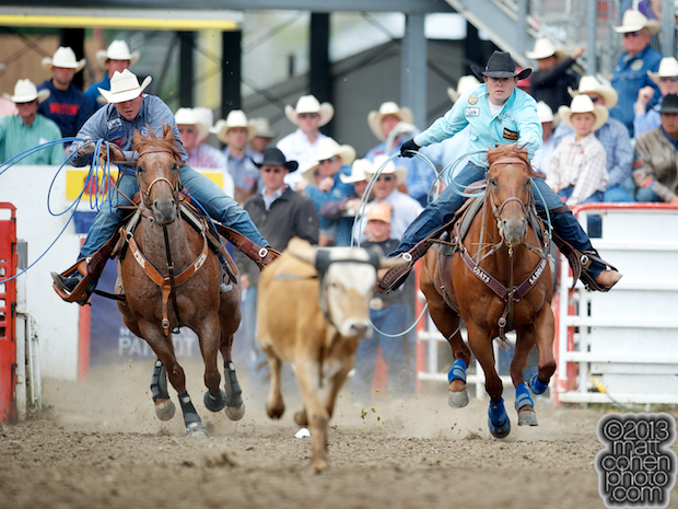 Team ropers Travis Graves and Kaleb Driggers compete at the California Rodeo in Salinas, CA.