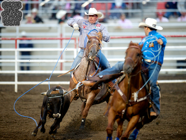 Team roper Travis Graves of Jay, OK competes at the California Rodeo in Salinas, CA.