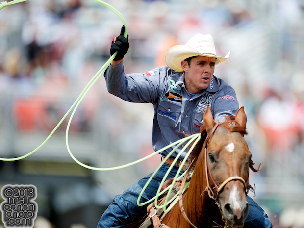 Team roper Patrick Smith of Lipan, TX competes at the California Rodeo in Salinas, CA.