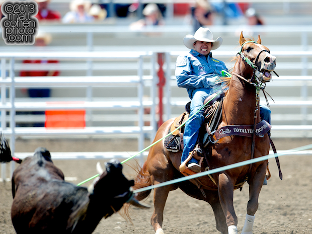 Team roper Cesar de la Cruz of Tucson, AZ competes at the California Rodeo in Salinas, CA.