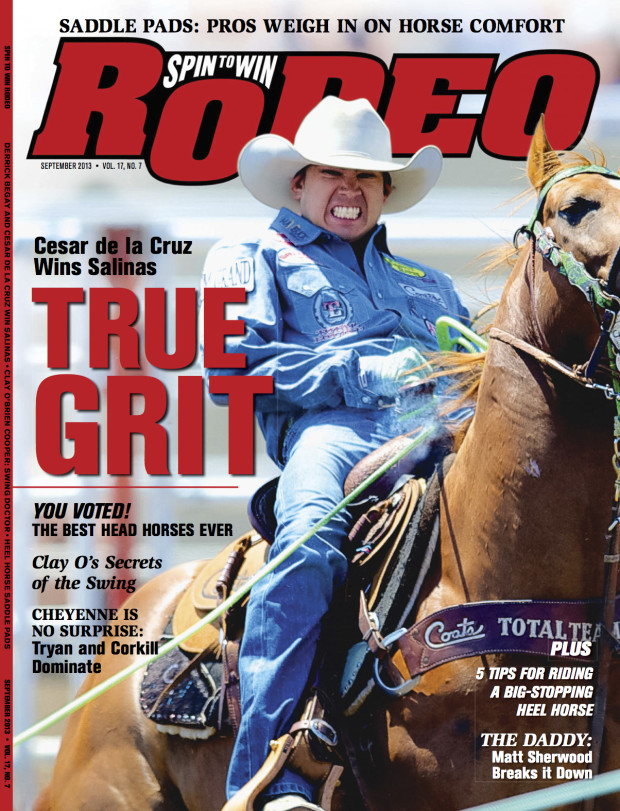 Cesar de la Cruz on the cover of the September issue of Spin to Win Rodeo Magazine