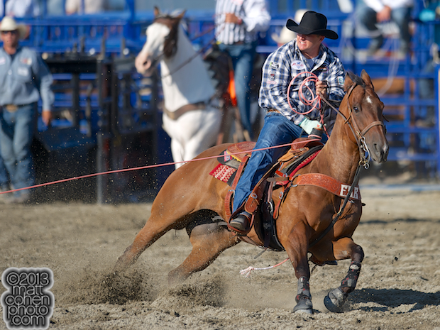 Team roper Kevan Daniel of Franklin, TN competes at the Rancho Mission Viejo Rodeo in San Juan Capistrano, CA.