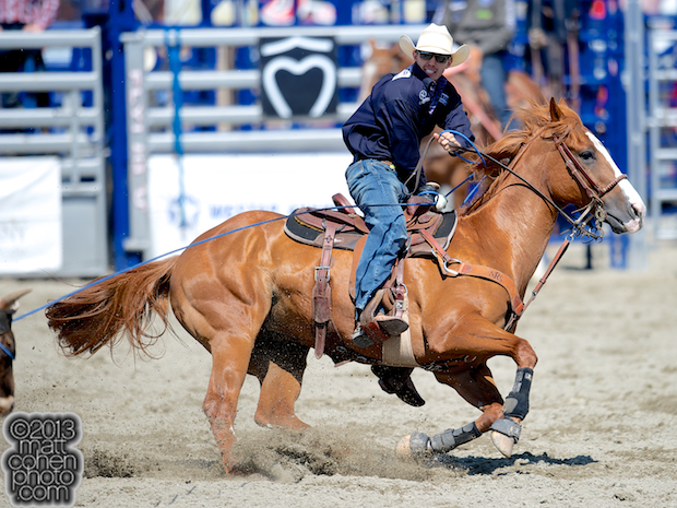Team roper Drew Horner of Plano, TX competes at the Rancho Mission Viejo Rodeo in San Juan Capistrano, CA.