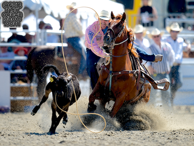 Tie-down roper Tyson Durfey of Colbert, WA competes at the Rancho Mission Viejo Rodeo in San Juan Capistrano, CA.