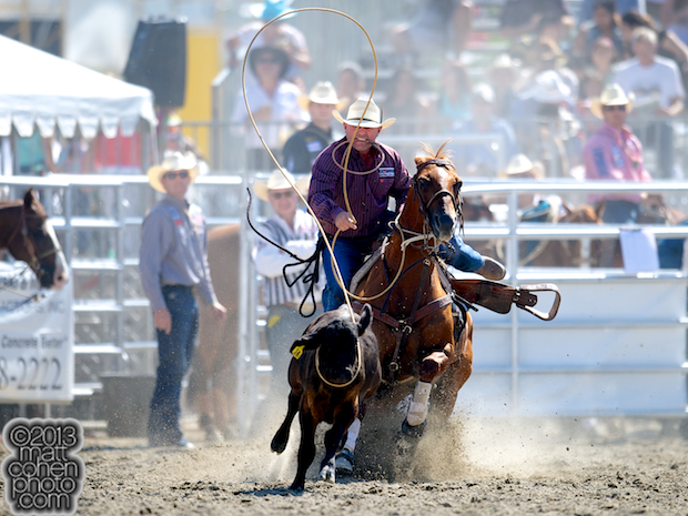 Tie-down roper Justin Maass of Giddings, TX competes at the Rancho Mission Viejo Rodeo in San Juan Capistrano, CA.