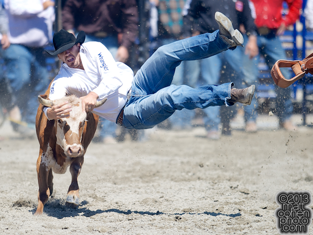 Steer wrestler Tyler Pearson of Louisville, MS competes at the Rancho Mission Viejo Rodeo in San Juan Capistrano, CA.