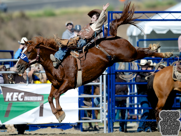 Bareback rider Winn Ratliff of Leesville, LA rides Peppy Bound at the Rancho Mission Viejo Rodeo in San Juan Capistrano, CA.