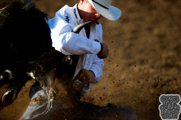 2013 NFR Steer Wrestling Qualifier #2 - Trevor Knowles of Mount Vernon, OR