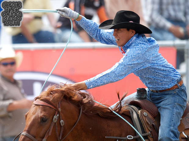 2013 NFR Team Roping (Header) Qualifier #9 - Derrick Begay of Seba Dalkai, AZ