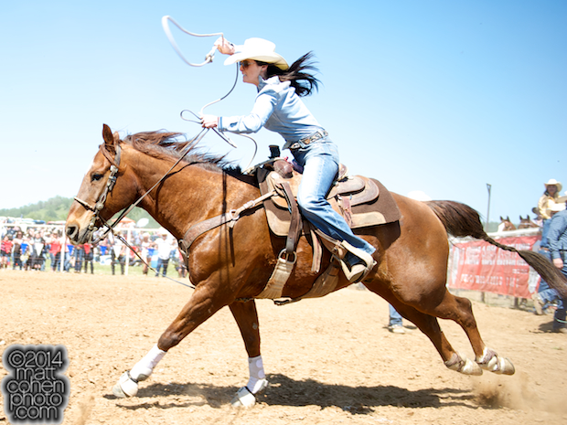 Breakaway roper Noel Hannon of Redwood Valley, CA competes at the La Grange Rodeo in La Grange, CA.