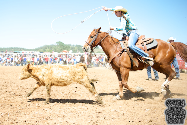 Breakaway roper Addie Engelhart of Lakeview, CA at the La Grange Rodeo in La Grange, CA.