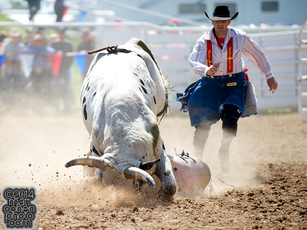 Bull rider Sterling Ward of Gardnerville, NV competes at the La Grange Rodeo in La Grange, CA.