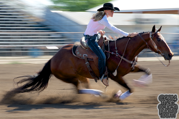 Barrel racer Kimmie Wall of Roosevelt, UT competes at the Oakdale Rodeo in Oakdale, CA.