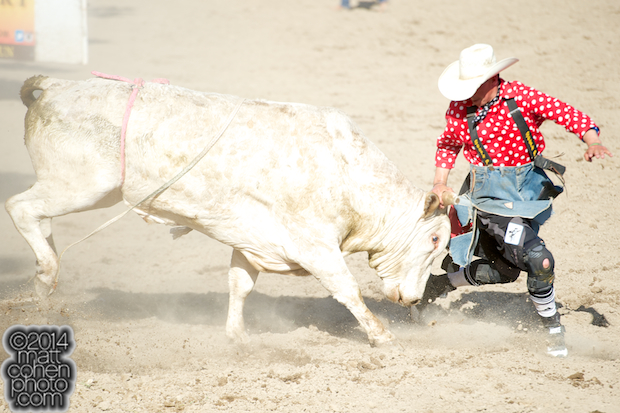 Bullfighter Chance Jackson battles Mojito at the Oakdale Rodeo in Oakdale, CA.
