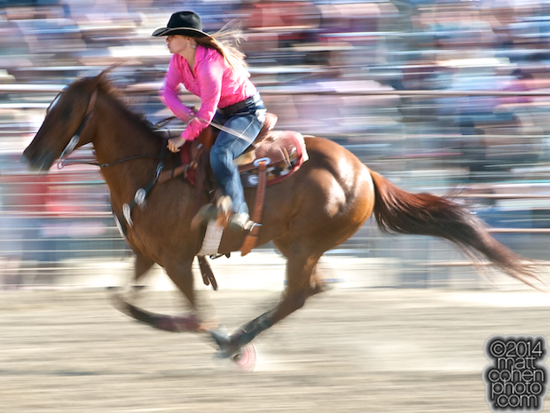 Barrel racer Courtney Cline of Arroyo Grande, CA competes at the Oakdale Rodeo in Oakdale, CA.