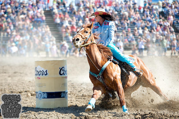 Barrel racer Fallon Taylor of Whitesboro, TX competes at the Oakdale Rodeo in Oakdale, CA.