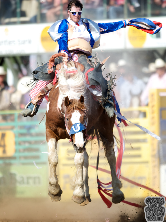 James Greeson of Huntsville, TX dressed as Fat Uncle Sam competes in the Wild Ride at the Red Bluff Round-Up at the Tehama District Fairgrounds in Red Bluff, CA.