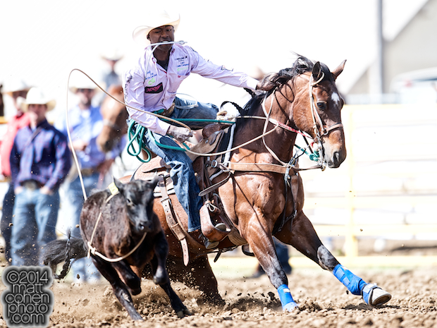 Tie-down roper Cory Solomon of Prairie View, TX competes at the Red Bluff Round-Up at the Tehama District Fairgrounds in Red Bluff, CA.