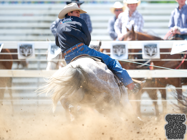 Team roper Derrick Begay of Seba Dalkai, AZ competes at the Red Bluff Round-Up at the Tehama District Fairgrounds in Red Bluff, CA.