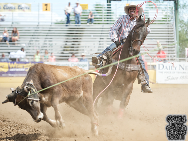 Team roper Junior Nogueira of Scottsdale, AZ competes at the Red Bluff Round-Up at the Tehama District Fairgrounds in Red Bluff, CA.