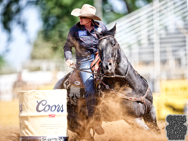 Barrel racer Trula Churchill of Valentine, NE competes at the Red Bluff Round-Up at the Tehama District Fairgrounds in Red Bluff, CA.