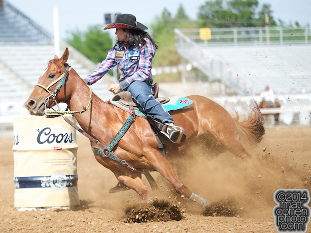 Barrel racer Fallon Taylor of Whitesboro, TX competes at the Red Bluff Round-Up at the Tehama District Fairgrounds in Red Bluff, CA.