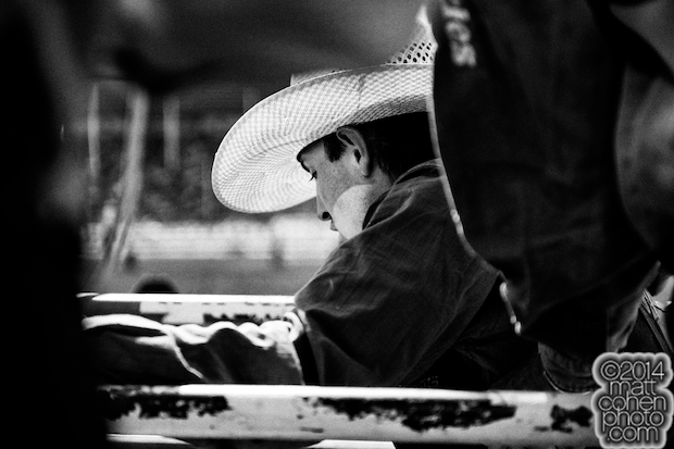 Bull rider Tyler Smith of Fruita, CO prepares to ride at the Red Bluff Round-Up at the Tehama District Fairgrounds in Red Bluff, CA.