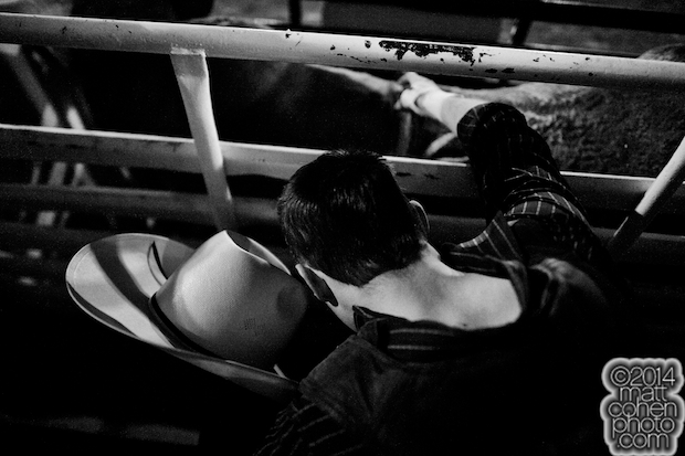 Bull rider Clayton Foltyn of Winnie, TX prepares to ride at the Red Bluff Round-Up at the Tehama District Fairgrounds in Red Bluff, CA.