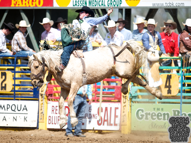 Bareback rider Richmond Champion of The Woodlands, TX rides Gold Dust at the Red Bluff Round-Up at the Tehama District Fairgrounds in Red Bluff, CA.
