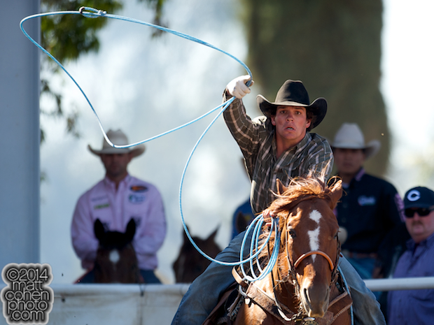 Team roper Zayne DIshion of Bishop, CA competes at the Clovis Rodeo in Clovis, CA.