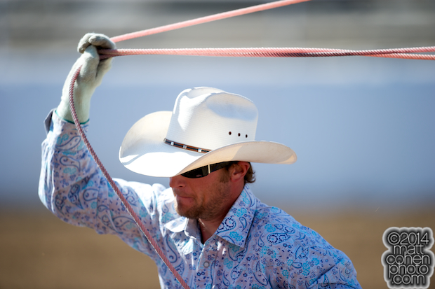 Team roper Jordan Wright of Madera, CA competes at the Clovis Rodeo in Clovis, CA.