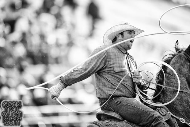 Team roper Cord Forzano of Madera, CA competes at the Clovis Rodeo in Clovis, CA.