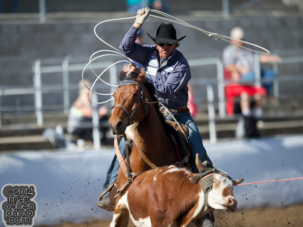 Team roper Jade Corkill of Fallon, NV competes at the Clovis Rodeo in Clovis, CA.