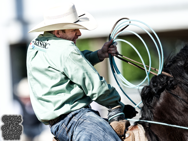 Team roper Jim Ross Cooper of Monument, NM competes at the Clovis Rodeo in Clovis, CA.