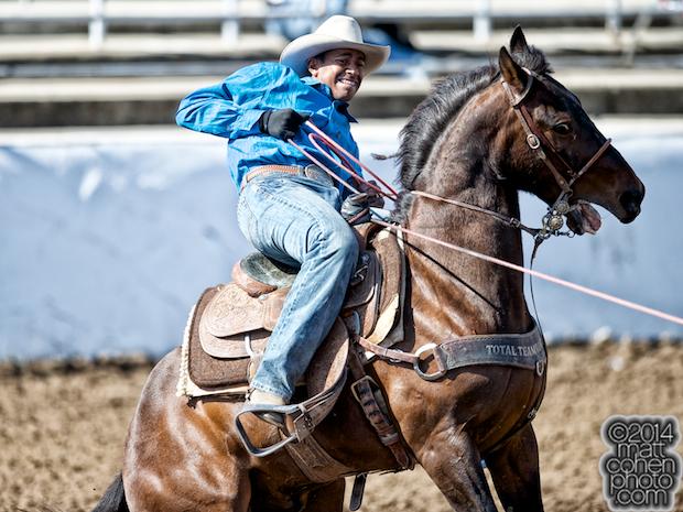 Team roper Junior Nogueira of Scottsdale, AZ competes at the Clovis Rodeo in Clovis, CA.