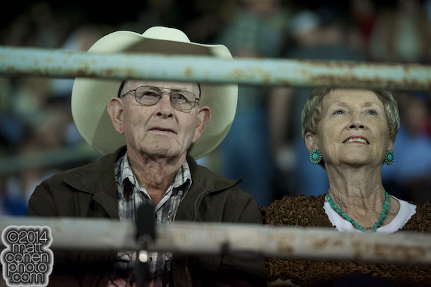 Clyde and Elsie Frost watch a video of their son Lane Frost at the PBR Touring Pro event at the Clovis Rodeo in Clovis, CA.