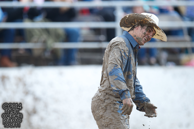 Steer wrestler Dirk Tavenner of Rigby, ID walks away after competing at the Clovis Rodeo in Clovis, CA.