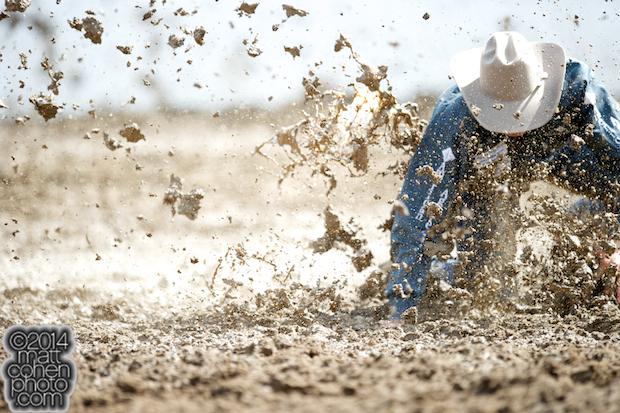 Steer wrestler Dakota Eldridge of Elko, NV competes at the Clovis Rodeo in Clovis, CA.