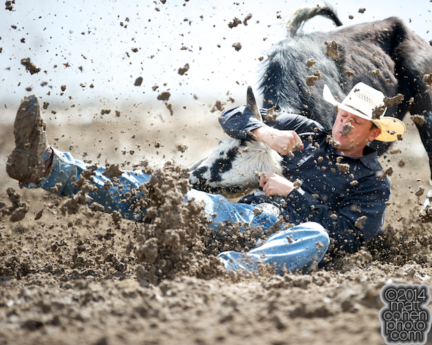 Steer wrestler Sean Santucci of Prineville, OR competes competes at the Clovis Rodeo in Clovis, CA.