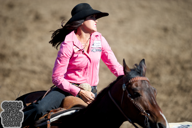 Barrel racer Kassidy Dennison of Tohatchi, NM competes at the Clovis Rodeo in Clovis, CA.