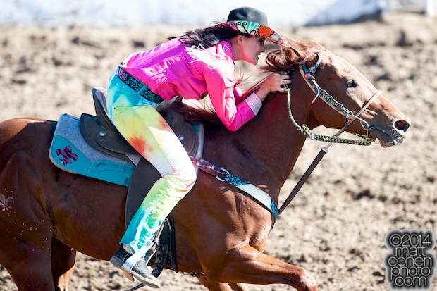 Barrel racer Fallon Taylor of Whitesboro, TX competes at the Clovis Rodeo in Clovis, CA.